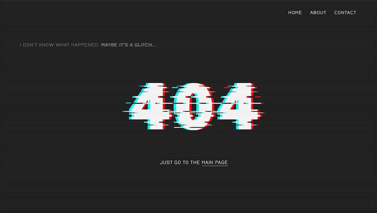 Дизайн страницы 404 Глитч эффект
