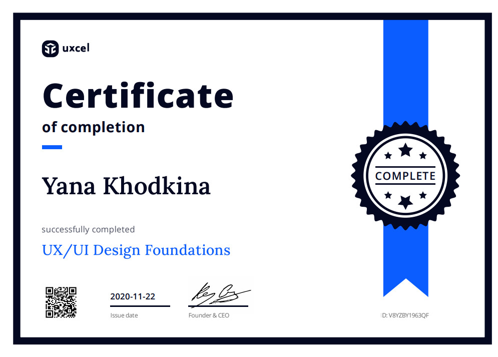 сертификат UX UI Design Foundations