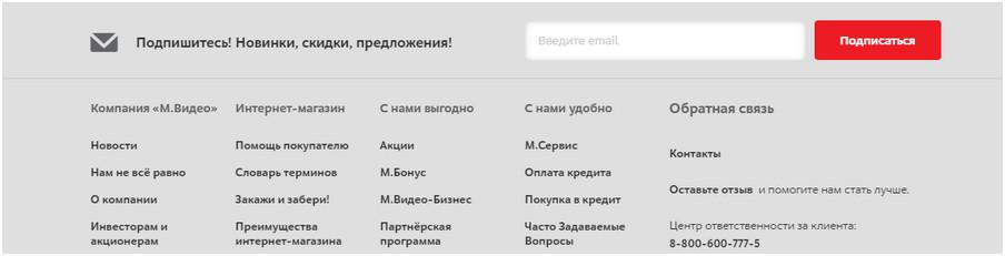 пример подвала сайта с формой подписки